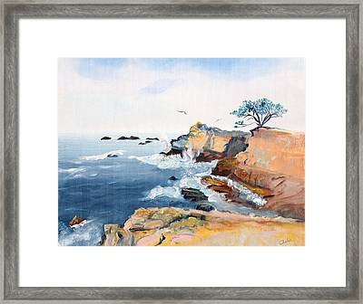 Cypress And Seagulls Framed Print by Asha Carolyn Young