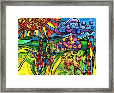 Cypress Trees Grapes And Leopard In The Landscape Framed Print by Genevieve Esson