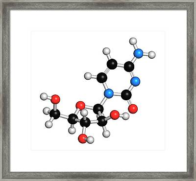 Cytarabine Chemotherapy Drug Molecule Framed Print by Molekuul