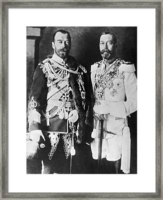 Czar Nicholas And King George V Framed Print by Underwood Archives