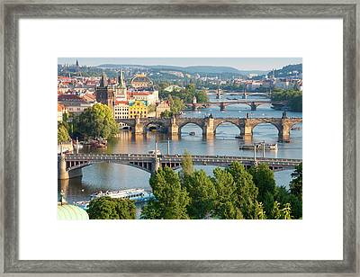 Czech Republic, Prague - Bridges Framed Print by Panoramic Images