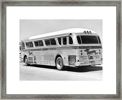 Dachshound Charter Bus Line Framed Print by Underwood Archives