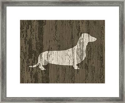Dachshund On Wood Framed Print by Flo Karp