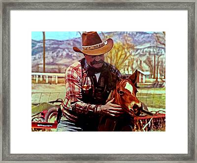 Dad And Horse Framed Print by Michael Pickett