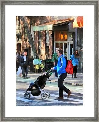 Daddy Pushing Stroller Greenwich Village Framed Print by Susan Savad