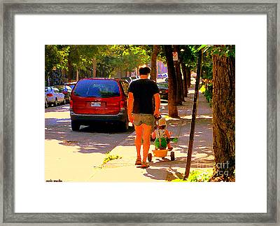 Daddy's Little Buddy Perfect Day Wagon Ride Montreal Neighborhood City Scene Art Carole Spandau Framed Print by Carole Spandau