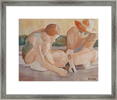 Daddy's Magnifying Glass Framed Print by Jenny Armitage