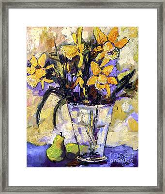 Daffodils And Pears Still Life Framed Print by Ginette Callaway