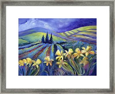 Daffodils And Stormclouds Framed Print by Jen Norton