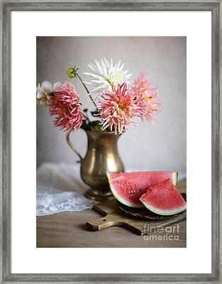 Dahlia And Melon Framed Print by Nailia Schwarz
