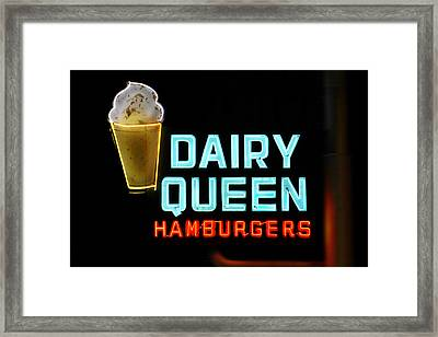 Dairy Queen Neon Sign - Route 66 Framed Print by Mike McGlothlen
