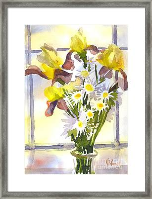 Daisies With Yellow Irises Framed Print by Kip DeVore