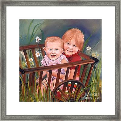 Daisy - Portrait - Girls In Wagon Framed Print by Jan Dappen