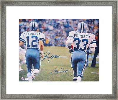 Dallas Cowboys #12 Roger Staubach And #33 Tony Dorsett Framed Print by Donna Wilson