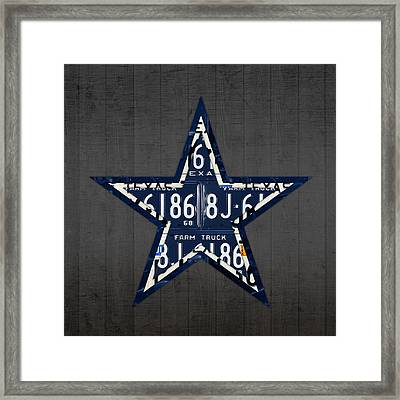 Dallas Cowboys Football Team Retro Logo Texas License Plate Art Framed Print by Design Turnpike