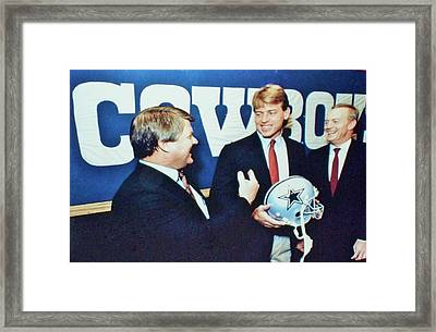 Dallas Cowboys Jimmy Johnson Troy Aikman Jerry Jones Framed Print by Donna Wilson
