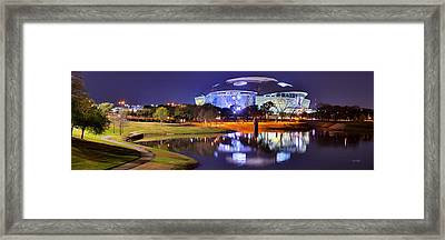 Dallas Cowboys Stadium At Night Att Arlington Texas Panoramic Photo Framed Print by Jon Holiday