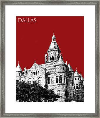 Dallas Skyline Old Red Courthouse - Dark Red Framed Print by DB Artist