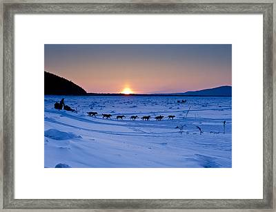 Dallas Seavey Drops Down The Bank Onto Framed Print by Jeff Schultz