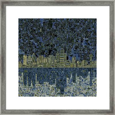 Dallas Skyline Abstract 2 Framed Print by Bekim Art