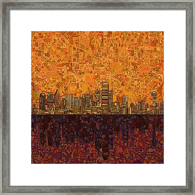 Dallas Skyline Abstract Framed Print by Bekim Art