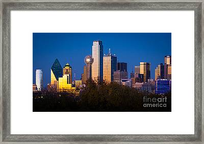 Dallas Skyline Framed Print by Inge Johnsson