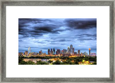Dallas Skyline Framed Print by Shawn Everhart