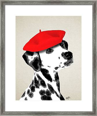 Dalmation With Red Beret Framed Print by Kelly McLaughlan