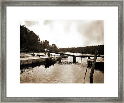 Dam And Lock, Saranac River, Adirondack Mtns Framed Print by Litz Collection
