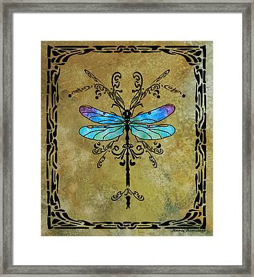 Damselfly Nouveau Framed Print by Jenny Armitage