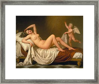Danae And The Shower Of Gold Framed Print by Adolf Ulrik Wertmueller