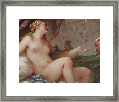 Danae Receiving The Shower Of Gold Framed Print by Charles Joseph Natoire
