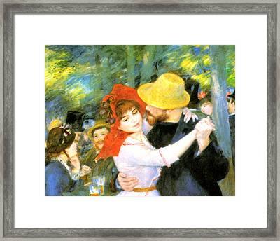 Dance At Bougival Detail Framed Print by Pierre Auguste Renoir