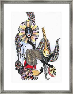 Dance Of The Masks, 2012 Pen, Ink And Colour Pencils On Paper Framed Print by Zanara/ Sabina Nedelcheva-Williams