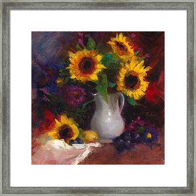Dance With Me - Sunflower Still Life Framed Print by Talya Johnson