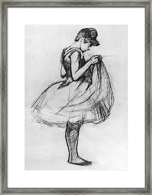 Dancer Adjusting Her Costume And Hitching Up Her Skirt Framed Print by Henri de Toulouse-Lautrec