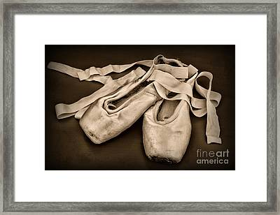 Dancer - Ballerina Shoes - Black And White Framed Print by Paul Ward