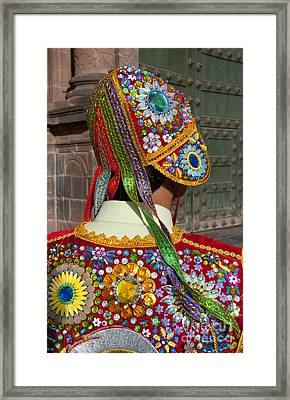Dancer In Native Costume Peru Framed Print by Bill Bachmann