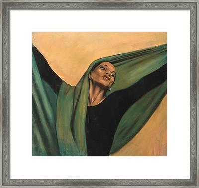 Dancer With Green Veil Framed Print by L Cooper
