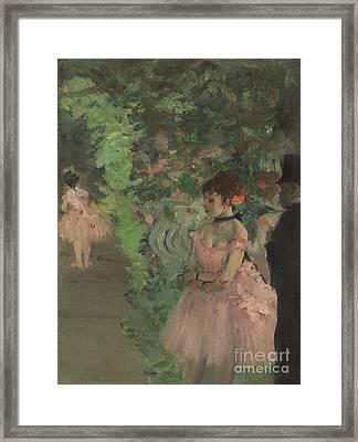 Dancers Backstage Framed Print by Edgar Degas