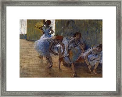 Dancers On A Bench, C.1898 Framed Print by Edgar Degas