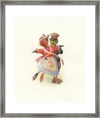 Dancing Ducks 02 Framed Print by Kestutis Kasparavicius