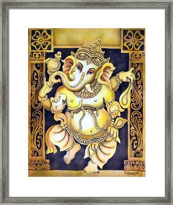 Dancing Ganesh Framed Print by Vishwajyoti Mohrhoff