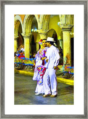 Dancing In The Streets In Merida Framed Print by Mark E Tisdale