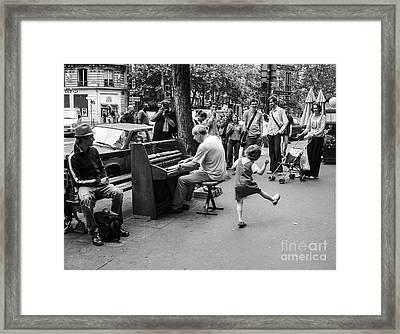 Dancing On A Paris Street Framed Print by Diane Diederich
