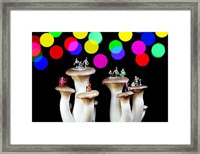 Dancing On Mushroom Under Starry Night Framed Print by Paul Ge