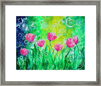 Dancing Tulips Framed Print by Jan Marvin