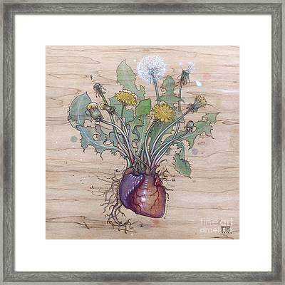 Dandelion Heart Framed Print by Fay Helfer
