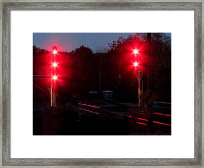 Danger Train Signals On Framed Print by Danielle  Parent