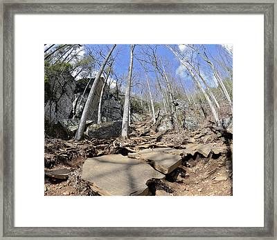 Dangerous Hiking Trail Framed Print by Susan Leggett